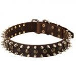 3 Rows Leather Spiked and Studded Newfoundland Collar