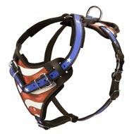 American Flag Painted Leather Newfoundland Harness for Agitation Training