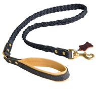 Braided Handcrafted Leather Newfoundland Leash with Nappa Leather Lined Handle