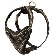 Painted Leather Newfoundland Harness for Walking and Training