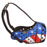 American Pride Painted Leather Newfoundland Muzzle for Protection Training