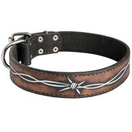 Handpainted Leather Newfoundland Collar with Barbed Wire Drawing