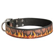 Handpainted Leather Newfoundland Collar with Red Flames