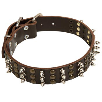 Newfoundland Handmade Leather Collar 3  Studs and Spikes Rows