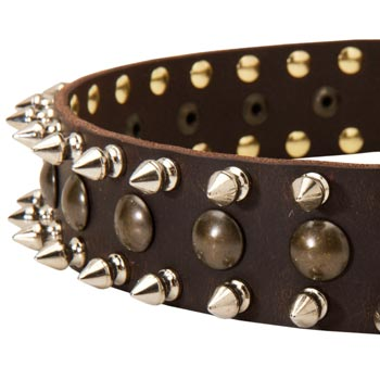 Newfoundland Leather Collar with Hand Set Spikes  And Studs