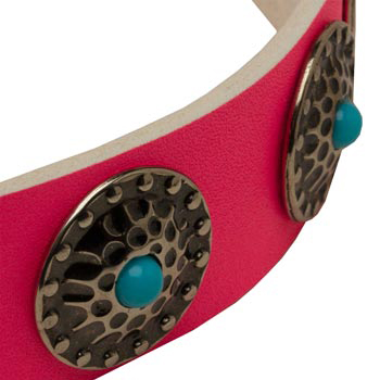 Pink Newfoundland Collar Leather with Blue Stones