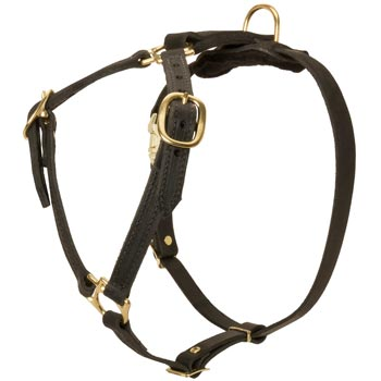 Leather Newfoundland Harness Light Weight Y-Shaped for Tracking Dog