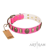 """Perilous Beauty"" Pink FDT Artisan Leather Newfoundland Collar with Small Plates and Skulls"