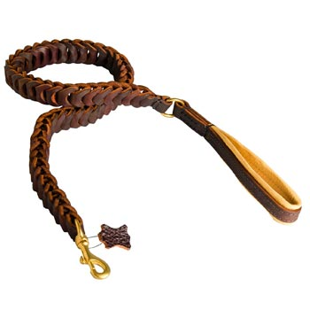 Braided Leather Newfoundland Leash with Padding on Handle