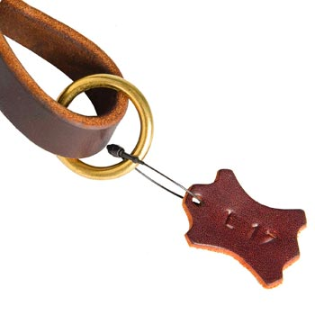 Leather Pull Tab for Newfoundland with O-ring for Leash Attachment
